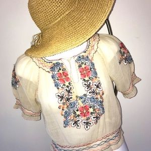 Vintage Boho 30's 40's embroidered blouse S XS